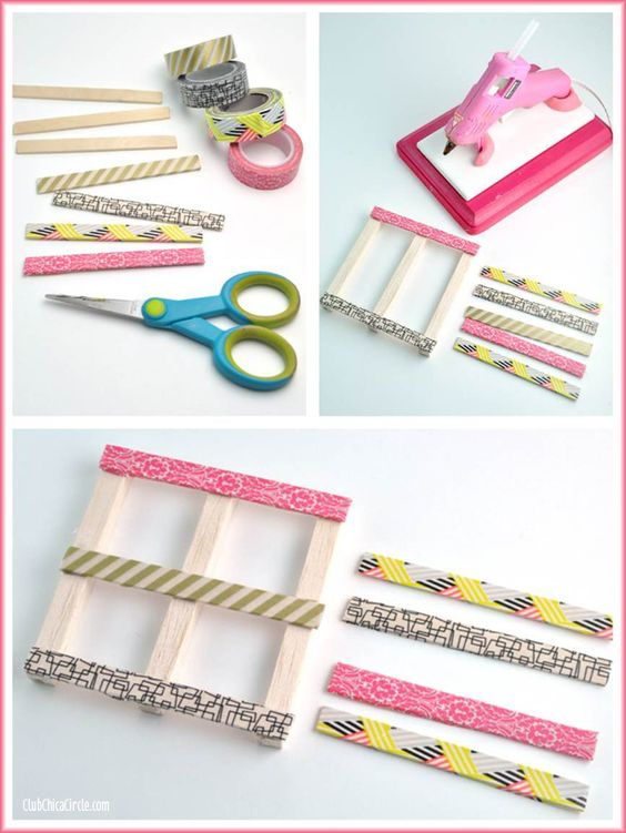Washi Tape Mini Wood Pallets Craft DIY: