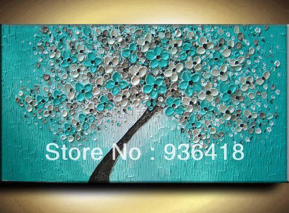 aangepaste olie schilderij textuur moderne impasto aqua groenblauw bruin beige witte bloemen boom sculptuur mes schilderen home decor kunst ...