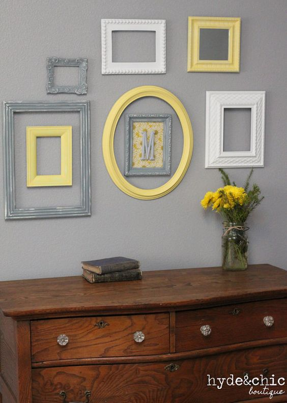 Baby Nursery Decor / Wall Letter / Monogram Frame / Yellow and Grey / Customizable Monogram Wall Decor:
