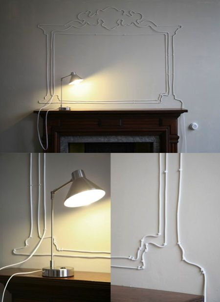 creative cord management  (that's not decorative wood-work, that's the lamp cord!)