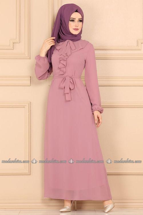 Modaselvim Elbise Firfir Detayli Sifon Tesettur Elbise 4047mb205 Pudra Moda Stilleri Casual Hijab Outfit Cizgili Elbise