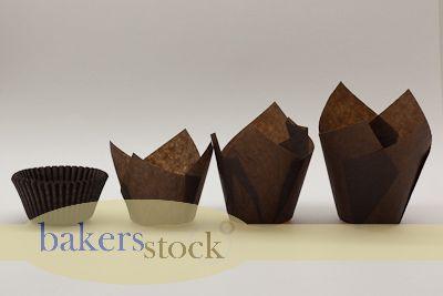 Bulk Tulip Baking Cups : Brown Baking Cups, Cupcake Liners, Tulip Baking Cups Supplies- Bakers Stock