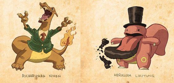 Si, así es, presidentes de EEUU caracterizados como si fuera Pokémons. Toda una gran combinación de humor y cultura popular
