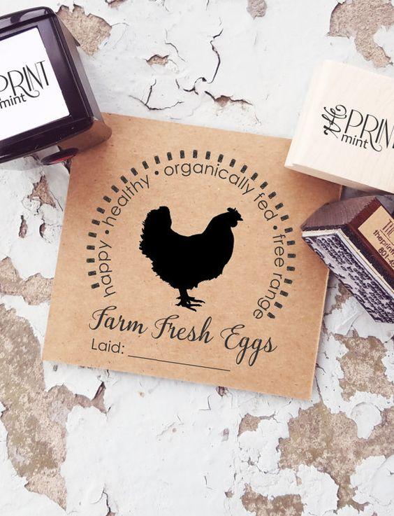 Chicken Stamp, Egg Stamp, Farm Fresh, Fresh Eggs Stamp, Farm Rubber Stamp…