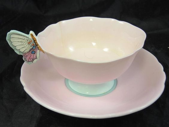 Rare Hard to Find Paragon Pink Cup & Saucer With Butterfly Handle