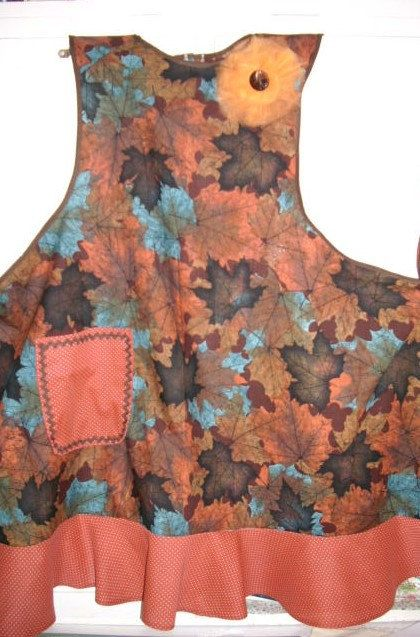 Autumn Awesomeness Fall Full Apron with Removable by 9PatchBlock