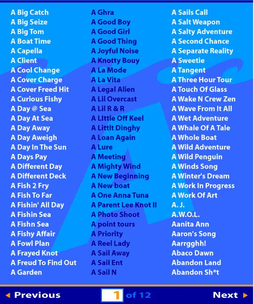 Alphabetical list of boat names teardrops 4 hubby for Girl fish names