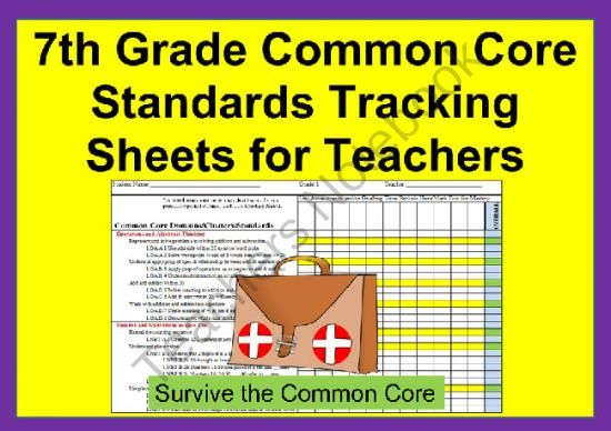Common Core 7th Grade Math Tracking Sheets By Domain