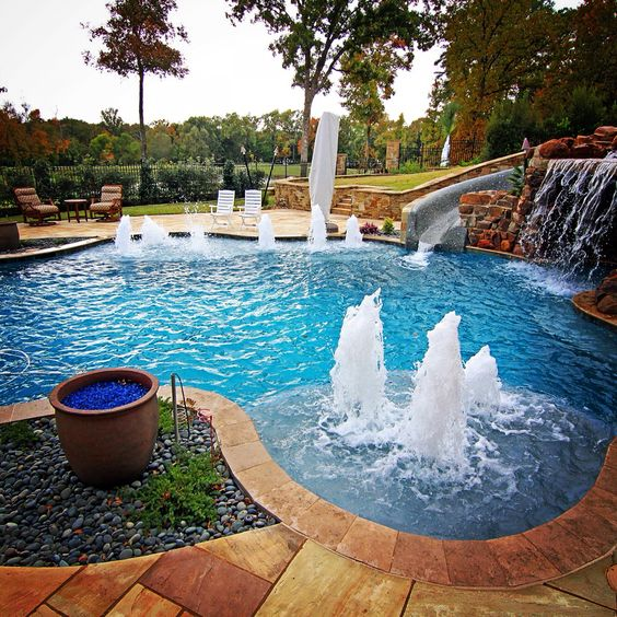 Swimming Pool Design Reference: Gunite Pool, Landscaping And Tile On Pinterest