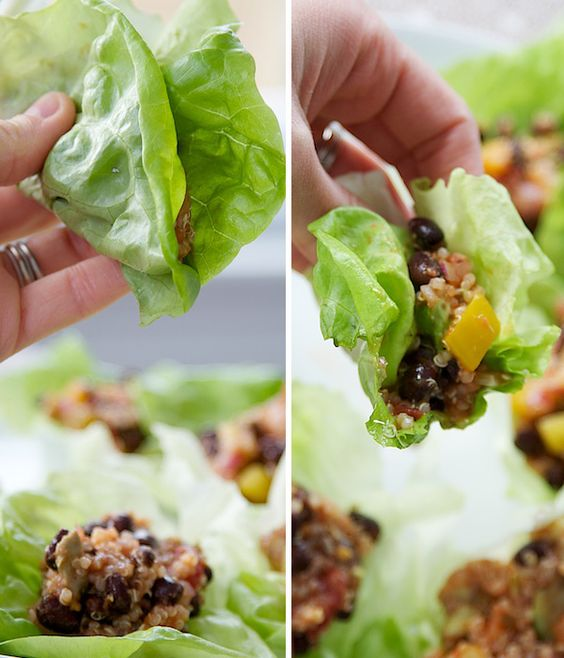 Lettuce Wraps with Quinoa, Black Beans, and Avocado! Delicious and very Celiac- and allergy-friendly! Note: Quinoa itself is gluten-free, but not all products with quinoa in them are, so read those labels! #quinoa #allergy #food_allergy #lettuce_wraps #recipe #cooking #healthy #food