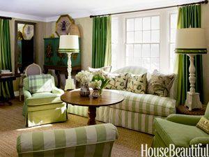 green stripe furniture in room