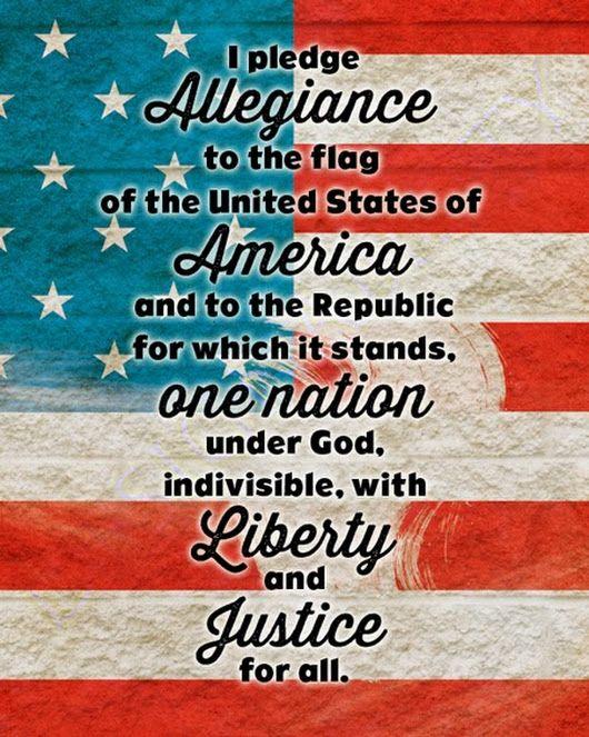 The United States Pledge Of Allegiance One Nation Under God