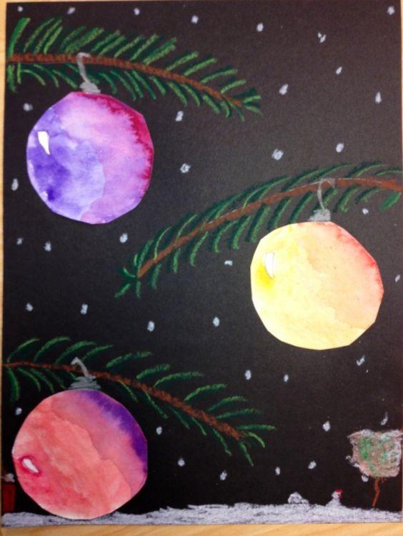schöne Christbaumkugeln aus Tuschbildern ausschneiden/ Quick art Christmas project