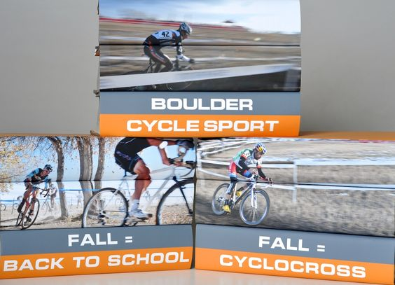 Cyclocross photo book jackets we made for Boulder Cycle Sport.