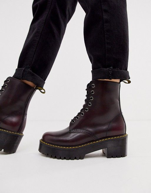 Dr Martens Shriver Hi Wyoming heeled ankle boots in burgundy