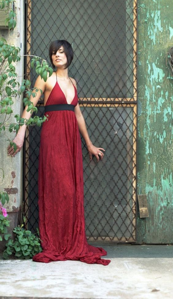 cherry red banded sundress by ovonion on Etsy, $125.00