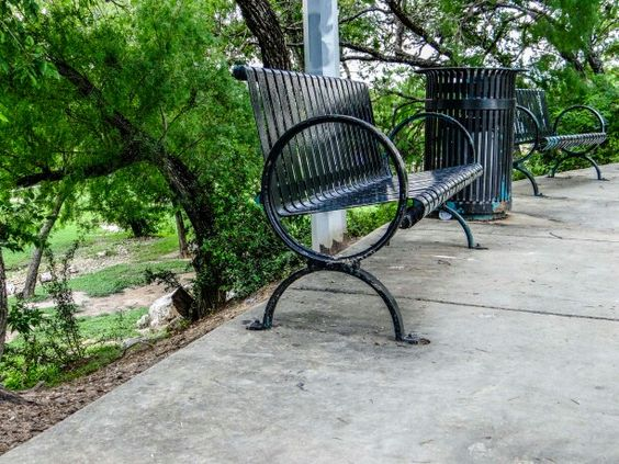 Benches and trash can match