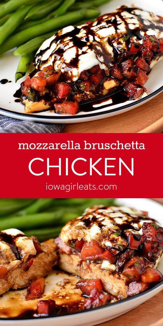 Mozzarella Bruschetta Chicken is an easy, gluten free dinner recipe that pairs the craveable flavors of fresh bruschetta with chicken and mozzarella cheese. | iowagirleats.com #glutenfree