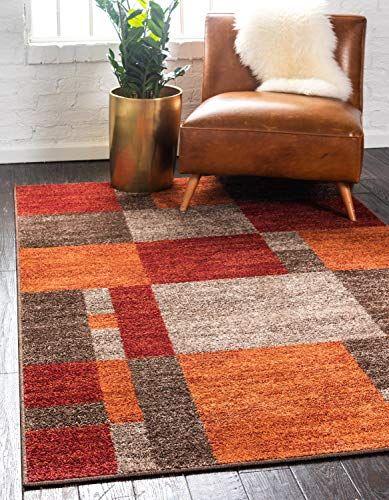 Unique Loom Autumn Collection Checkered Abstract Casual Warm Toned Multi Area Rug 2 0 X 3 0 Unique Loom Orange Area Rug Area Rugs