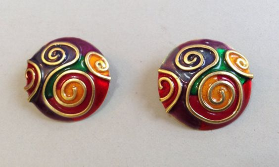 Don-Lin Gold Tone Colorful Enamel Swirl by Aged2PerfectionShop