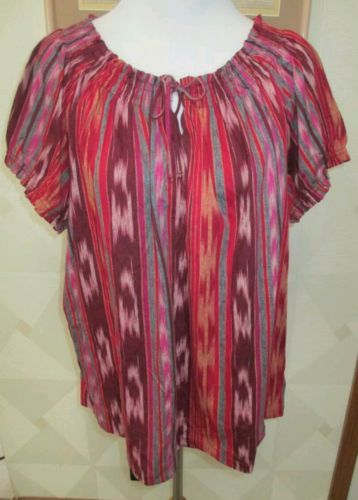RALPH-LAUREN-CHAPS-MULTI-COLOR-STRIPED-PEASANT-TOP-PLUS-SIZE-2X