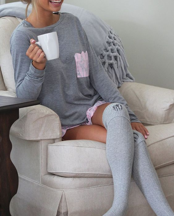 Monogrammed Tall Knee Socks