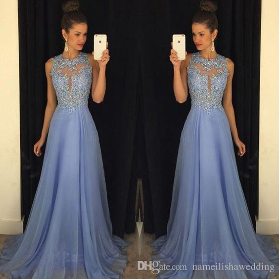 Lavender Lace Prom Dresses Long 2016 Sexy Sheer Jewel Neck Open Back Formal Bridesmaid Wear Applique Beads A Line Chiffon Cheap Party Gowns Online with $105.53/Piece on Nameilishawedding's Store | DHgate.com