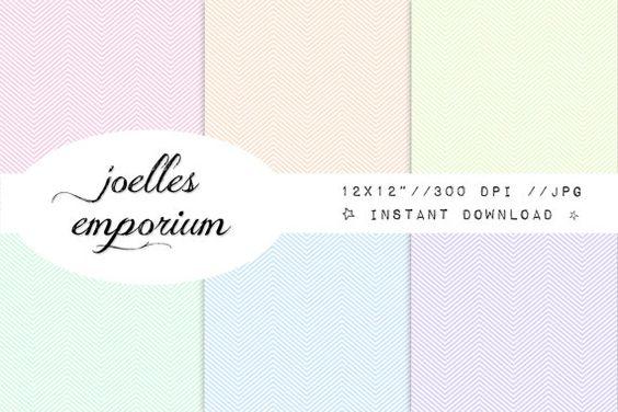 Chevron Digital Paper 6 Pack  Pastel Pale Color by JoellesEmporium, £2.00