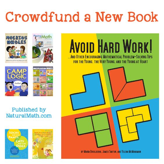 Avoid Hard Work gives a playful view on ten powerful problem-solving techniques. It is for parents, teachers, math circle leaders, and others who work with children ages three to ten. The book will come out in the Fall…Read more ›