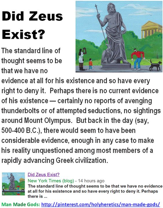 Did Zeus Exist? ...  The standard line of thought seems to be that we have no evidence at all for his existence and so have every right to deny it.   > > > >  Click image!