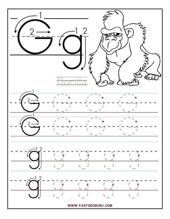 worksheets for preschoolers | Printable letter G tracing ...