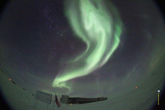 Auroras Over South PoleTaken by Robert Schwarz on July 12, 2012Amundsen-Scott South Pole Station