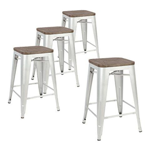 Lch 24 Inch Metal Industrial Patio Bar Stools Set Of 4