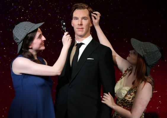"""Benedict Cumberbatch's wax figure unveiling at Madame Tussauds. Notice the """"kill me now"""" face."""