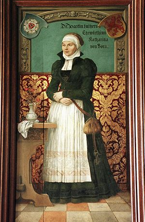"Katharina von Bora (Luther) ::: (+1552) - Called ""The Lutherin"" was the wife of Dr. Martin Luther and ran his household in Wittenberg. She played a significant part in the Lutheran reformation because of her role in helping to define Lutheran way of family life and setting the tone for clergy marriages too.:"