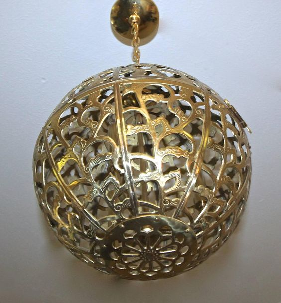 Large Pierced Filigree Brass Japanese Asian Ceiling Pendant Light | From a unique collection of antique and modern chandeliers and…