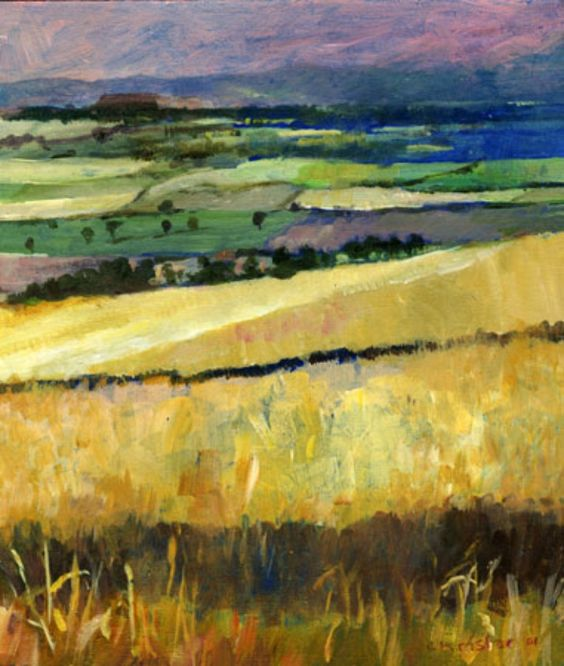 ARTFINDER: Field scene 1 by Chris Taylor - This is a view near where I live. I was inspired by the shadow cast and the view across to the Forth estuary. I like the suggestions of pattern that can be p...