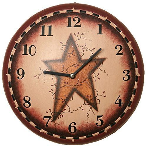 New Your Heart S Delight Primitive Star Wall Clock 11 1 4 Inch Ebay Primitive Stars Wall Clock Rustic Wall Clocks
