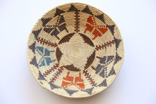13in wide Hand Woven SouthWestern shallow bowl Baskets 2-4in Deep approx