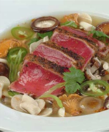 Szchewan Mushroom Soup with  Seared Ahi By Chef John Kane, Grass Valley, CA  Use a chicken or vegetable (mirepoix) stock, whichever you prefer