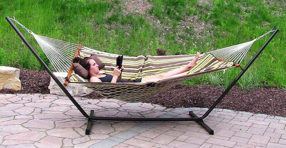 #CottonRopeHammock With #Stand #Pad And #Pillow Combo #Outdoor #Garden #Patio #Yard