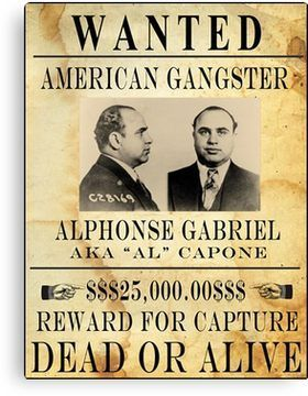 vintage gangster wanted poster canvas