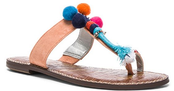 Pom Pom Sandal in Peach with Multi-Color Pom Poms