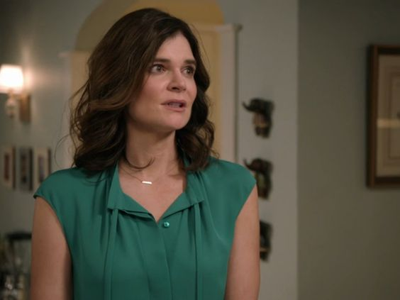Heather Hughes' Green Tie Neck Blouse on Life In Pieces