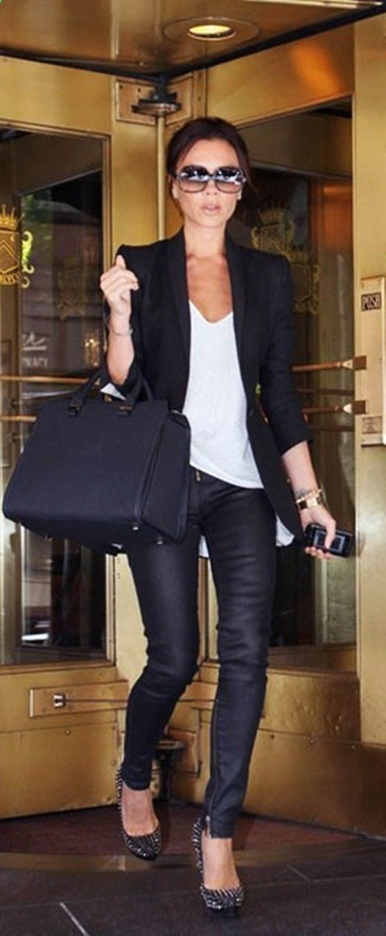 Victoria Beckham black skinnies, white t, black blazer and heels....with I had the Birkin but a Kors Selma is a good sub :)