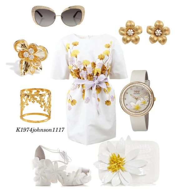 """FLOWERS"" by k1974johnson1117 ❤ liked on Polyvore featuring Giambattista Valli, Delpozo, Tiffany & Co., GUESS by Marciano, Nyamanti, bürgi, Oscar de la Renta and Nancy Gonzalez"