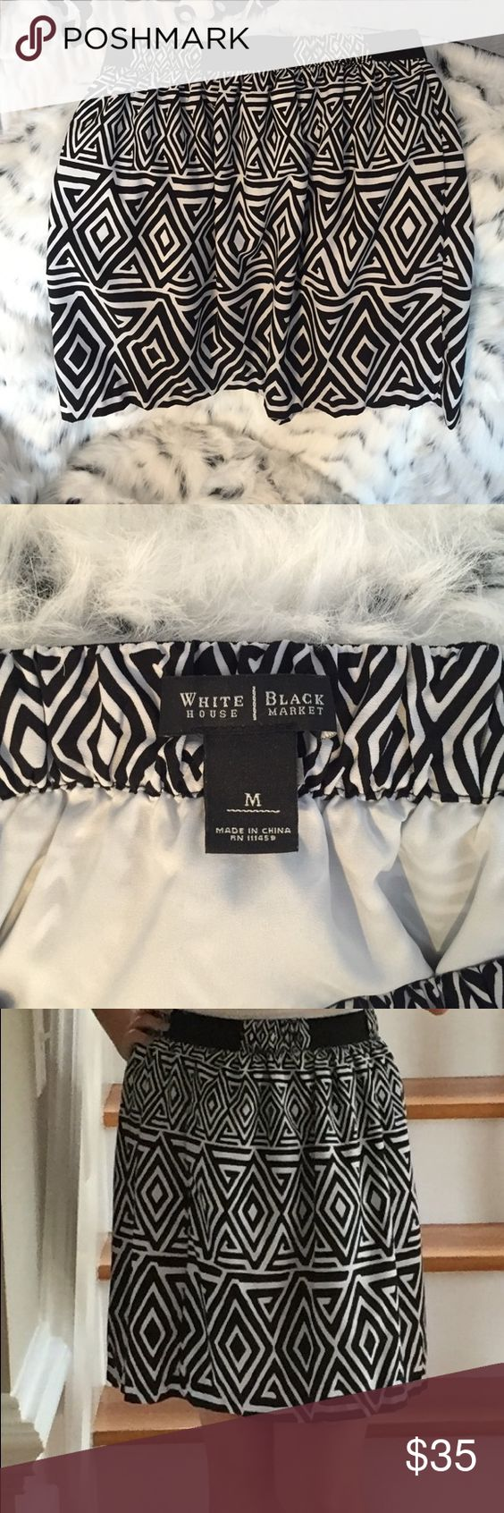 HP‼️White House Black Market Skirt This fashionable black and white patterned skirt from White House Black Market is in good as new condition and is sure to make all of your dressy outfits look great. Whether it's for business dress, fancy date, or church clothing, it is sure to provide a fashionable sense. It is a size medium but could also fit a small. White House Black Market Skirts