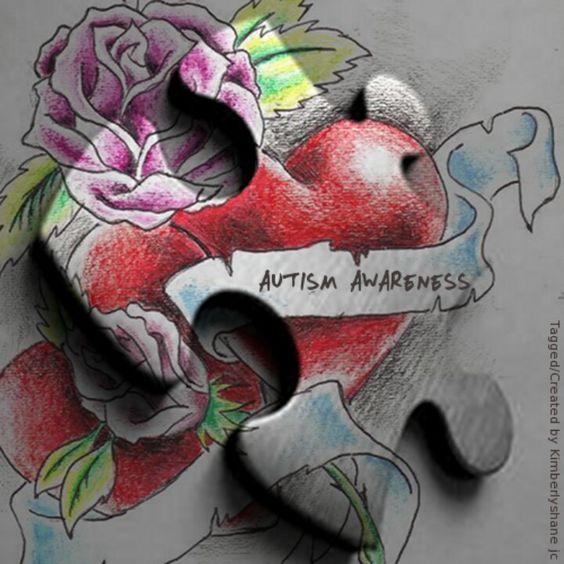 Autism tattoo train in backgrount