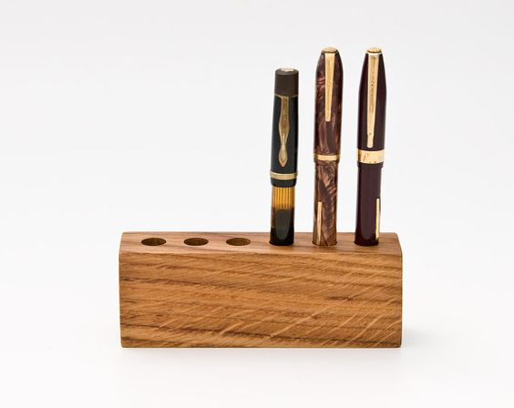 Wood Pen Holder Desk Organizer Fountain Pen Holder by lessandmore, $46.00