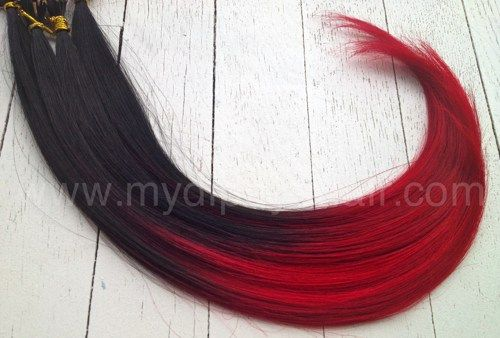red dip dyed hair   Red Hair/Black Hair/Ombre/20 Pieces/Dip Dye/I-Tip/Remy Hair ...